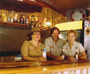 The life and soul of Louis Trichardt: Jacqui and Dave van Graan, and Lani Senekal from Camp Africa and Masazane Expeditions. The pub on the premises serves many purposes: from psychology room to the best party place in town!