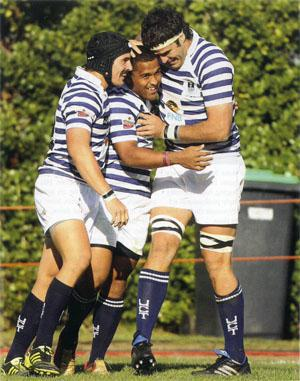 Eye of the Tigers The leading try-scorer for 2011, Therlow Pietersen, gets some encouragement from his Ikeys teammates after scoring yet another try. The scything backline player ended the season with seven tries and will remain a key weapon in UCT's arsenal this year.