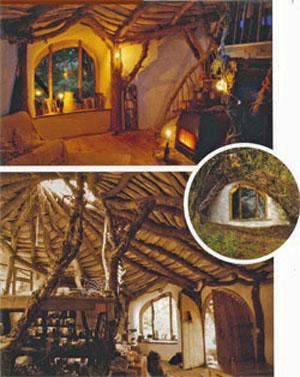Left and inset: The Dale family's unconventional home, situated in the Welsh countryside, conjures up images of The Shire and that fictional abode of Bilbo Baggins made famous by JRR Tolkien in his fantasy novels, The Hobbit and The Lord of the Rings.