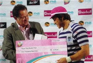 Player that rocks UCT flyhalf Demetri Catrakilis, a little worse for wear, accepts the Man of the Match Award for his outstanding performance in the final against Tuks. Catrakilis has enjoyed a meteoric rise from club rugby, to the Varsity Cup, then the Currie Cup, and finally a call-up to the Stormers' Super Rugby squad.