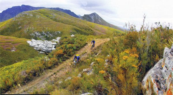 Beautiful scenery and rough riding on trails with hardly anyone but you and your partner on them is part of the Cape Pioneer Trek package