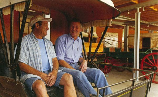 De Poort's wagon museologist, Johann Burger, and Mark Heistein, chairman of the village's voluntary committee.