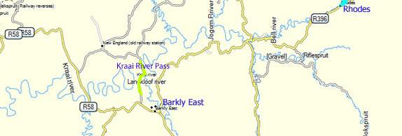 Kraai River Pass Map, Eastern Cape Highlands