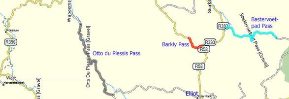 Otto Du Plessis Pass Map, Eastern Cape Highlands