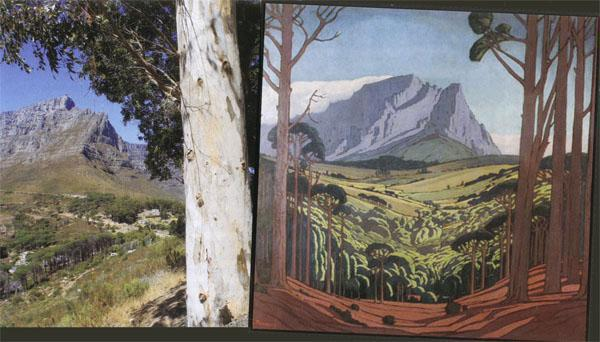 Pierneef's fairy-tale image of Table Mountain draws the viewer through endless middle ground towards impossibly sheer slopes.