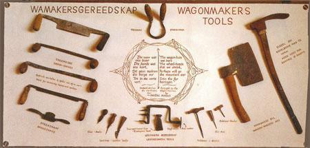 Saved from the scrapheap - tools used by South Africa's last wagon maker, who shut up shop in 1974.