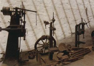 Steam-driven machinery used in the manufacture of wagons.