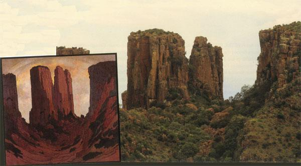 The pinnacles overlooking the Valley of Desolation at Graaff-Reinet were greatly exaggerated by Pierneef