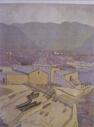 Typically, Pierneef did not show any sign of human life in his pictures, even of urban scenes such as this one of Hermanus.