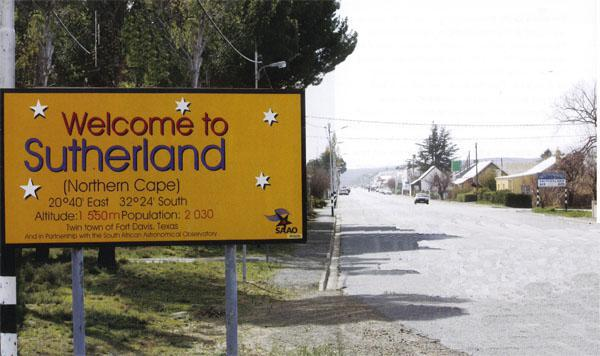 Sutherland welcomes you with stars and a bright yellow sign.