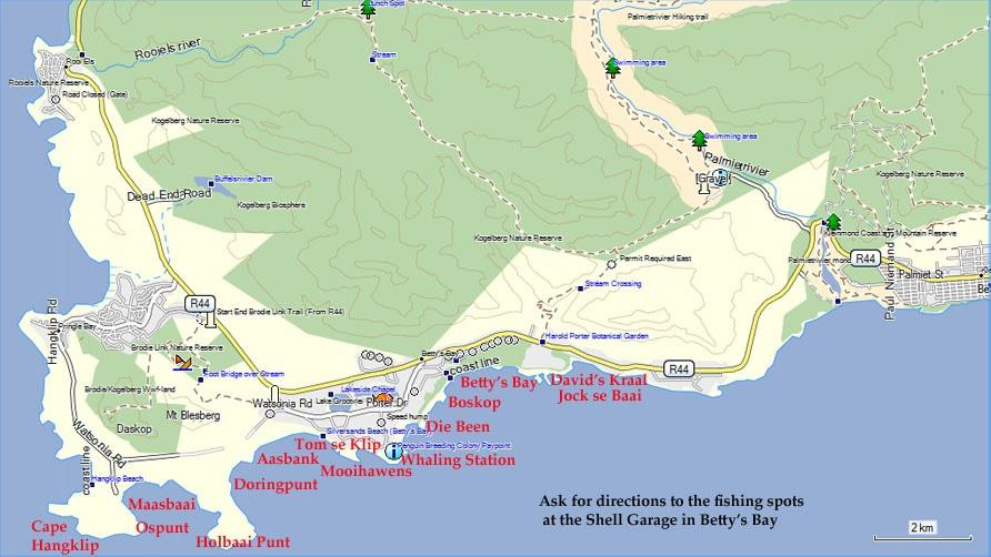 Fishing Spots Kleinmond to Cape Hangklip Map