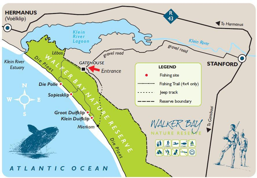 Walker Bay Nature Reserve 4x4 Fishing Trail Map