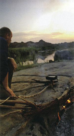 Sunset and supper time, but sit back and be careful of exploding rocks