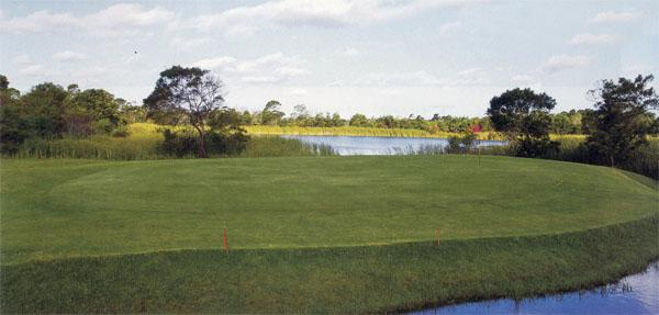 The 1 st hole at Zwartenbosch is a downhill par four protected by water behind the green.