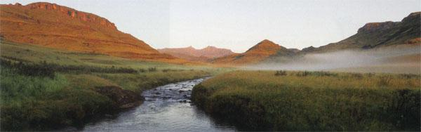 The Pholela River runs down from the escarpment and then passes through numerous farmlands