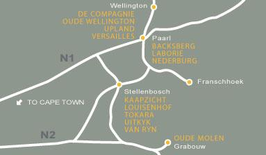 The Western Cape Brandy Route Map