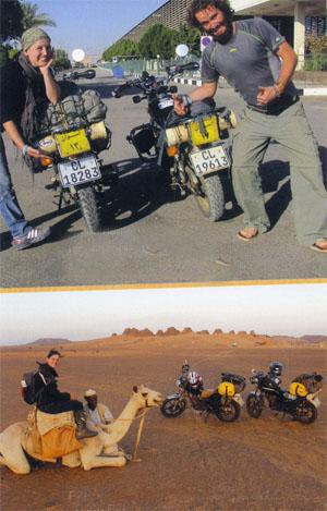 Bikes arriving in Egypt with Egyptian number plates Riding a camel at the Meroe Pyramids in Sudan