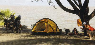 Camping next to Lake Langano in Ethiopia