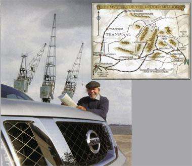 "Cultural historian and fellow treasure seeker Dolph Havemann with the Pathfinder at Maputo harbour. He believes that more than one ship probably transported the ZAR's gold to Europe to enable Oom Paul Kruger and other exiled Boers to live there in relative luxury. Insert, above: A treasure map, illustrating the advance of the British army, and the possible directions in which the cache of gold could have headed. Havemann reckons there may be truth in some of the ""myths"". But rather than one big treasure, he says, the gold was probably divided into many smaller caches, and distributed that way."