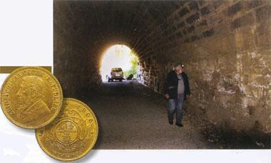 Dolph Havemann inspects the walls inside the eerie tunnel. To this day, people still dig illegally for treasure here. Sadly, the government doesn't seem too concerned about preserving this national heritage site. Insert, below: The loot - Kruger pond, cast from gold. In near perfect condition, a Kruger pond today sells for up to R190 000!