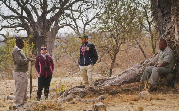 SANParks guides Eric Maluleke and Thomas Mathebula explain to two guests the history of the archaeological site of Thulamela, just south of the Luvhuvu River.