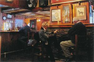 The hotel pub is a popular gathering place.