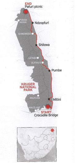 The Lebombo Eco-trail runs along the eastern boundary of the Kruger National Park.