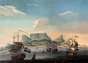 Jan de Reyniers, A View of Table Bay, Cape Town Oil on canvas, 72 x 89, c1860