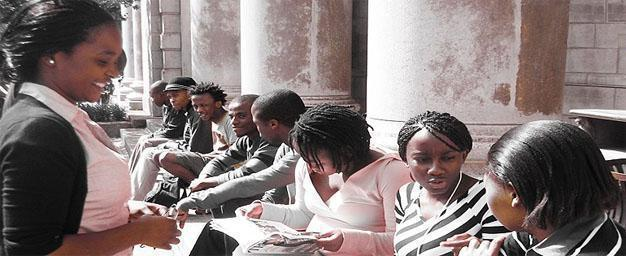 Relaxing on the Great Hall Steps, Wits University