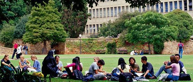 Taking a break on the lawns, Wits University