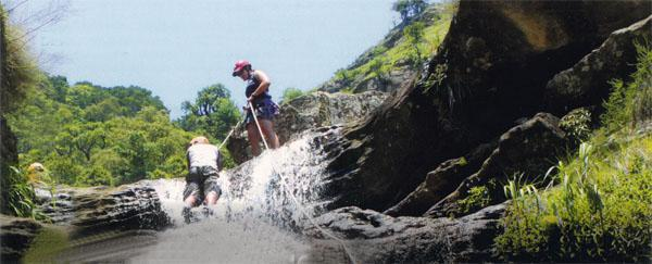 Kloofing is an extreme sport that involves following a watercourse through the mountains; scrambling or abseiling down small cliffs and waterfalls, and, sometimes, compulsory swims through deep pools.