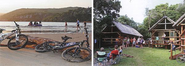 □ Cyclists are ferried over the Msikaba River by a kind-hearted boatsman. □ Drifters tented camp at Msikaba is the perfect blend of rustic and creature comforts.