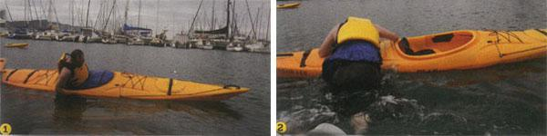 1. To get the most out of your offshore kayaking experience, you must learn how to reenter your kayak after capsizing. First step is to tip yourself into the drink. 2. Once you've floated to the surface, you flip the kayak over and then hold on to the hull behind the cockpit, letting your legs float the surface. Next, you kick like crazy and drag your torso on to the hull.