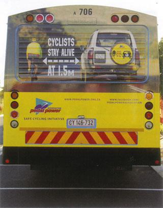 The Pedal Power Association has an active awereness campaign that includes branding on buses.