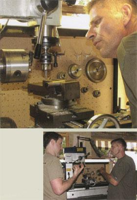 """Above: Van As begins fabricating a more realistic fingertip on his milling machine (purchased from donated funds) for his latest design, saying, """"We don't know if this thing's even going to work, you know"""". Left: After spending —• so long collaborating long¬distance, both Owen and Van As made the most of their four days working together. Here they discuss a subtle alteration in 5-year-old Liam's prosthetic design."""