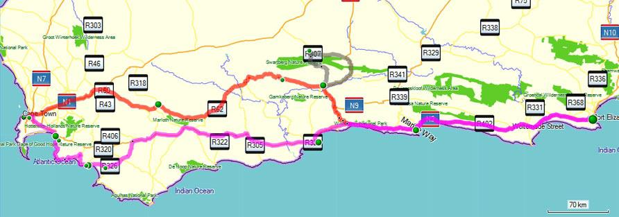 Garden route from cape town via hermanus or oudtshoorn south africa - Port elizabeth south africa map ...