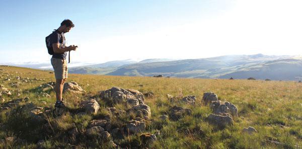 George capturing a waypoint en route to the top of Die Berg