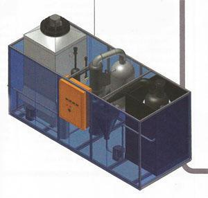 A schematic showing the inner components of his modular, fully automated plastics-to-fuel processing plant.