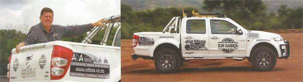 Heine, owner of ADA, with his trusty Steed. Right:  The Steed 5, called the Suri Warrior, is the creation of GWM Montana. Aftermarket extras are fitted by Hannes Grobler's 4x4 Megaworld.