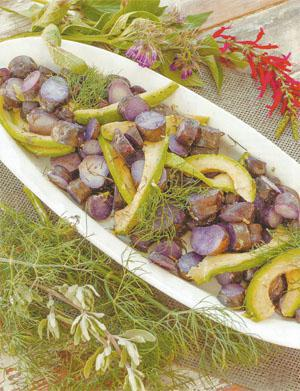 Purple Potato, Dill and Avocado Salad