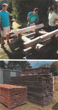 Chamfering the logs in butt and pass construction.  A supply of neatly stacked planks.