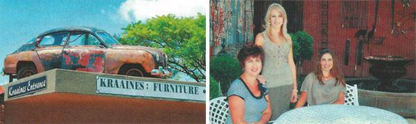 Glencoe's lofty landmark, 'Old Rusty' on the roof of Kraaines. Audrey Emslie, Chrichelle Wilkinson and Cherice Torlage relax in the outdoor decor section at Kraaines.