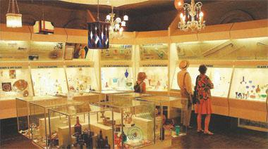 The glass display at the Talana museum. The 42 buildings sited on 180 hectares house displays depicting the history of the area from earliest times to the modern era.