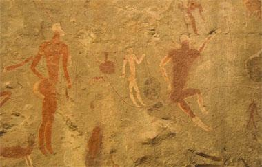 A close-up of the details on the Linton Fragment that was removed from the Maclear district in the Eastern Cape in 1917 and now graces the spectacular rock art gallery in the museum. The paintings are estimated to be between 1000 and 2000 years old. The figure painted in white is depicted in the South African Coat of Arms.
