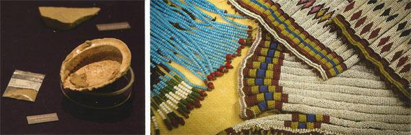 Elements of the world's oldest chemistry set used in Blombos Cave near Mossel Bay to mix ochre for rock-art paintings. They're approximately 100000 years old and are an important link in the story of early human development in Africa. Artefacts from a variety of African cultures, such as this beaded Zulu skirt and necklace, grace the ethnology gallery.