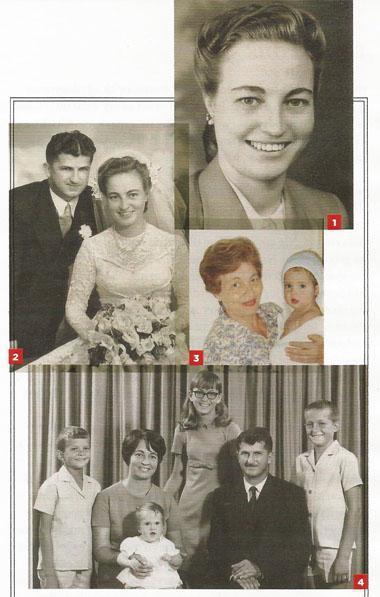 1. My ma kort voor haar troue. 2 Susan en Johan herselman - 11 Desember 1954. 3. 'n Trotse ouma saam met een van haar kleinkinders. 4. 'n Gesinsfoto: van links: Gerhard, Marlize en Hendrik Heselman. Ek sit op ma se skoot