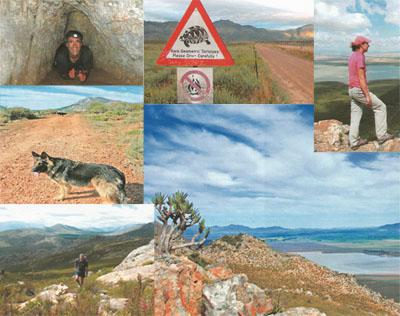 1.Take a head torch, even if you're doing a day hike, and explore Ontongs Cave. 2. Be careful on the drive in, some local inhabitants cross the road slowly.  3. The hike up is stiff, but there are plenty of wonderful lookouts where you can rest and take in the views. 4. Looking down onto Voelvlei from the ridge.  5. India on the jeep track on the way down from Ontongskop.  6. As you climb, the views get better and better.