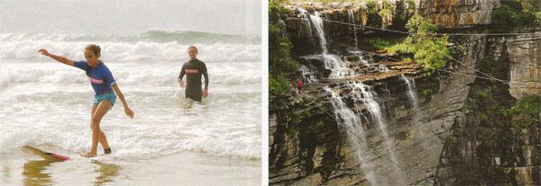 First-time and pro surfers will have plenty of fun in the consistent break at many good surfing spots around Margate. ABOVE RIGHT: Feel the wind rush past as you step over the edge and plummet into a 75-metre freefall at the Oribi Gorge swing.