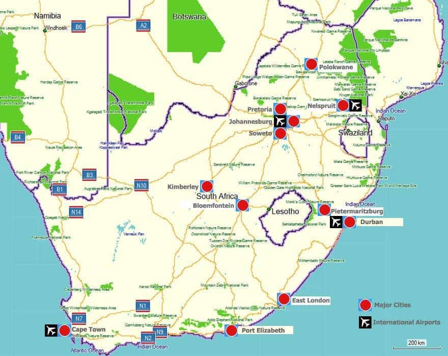 South Africas Major Cities And International Airports South Africa - London map with cities