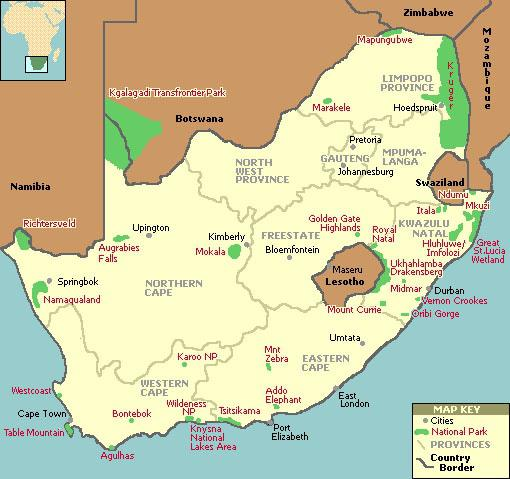 Map of South African National Parks